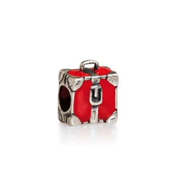 Red enamel suitcase