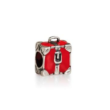 Red enamel suitcase