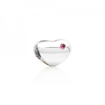 Heart with red cubic zirconia