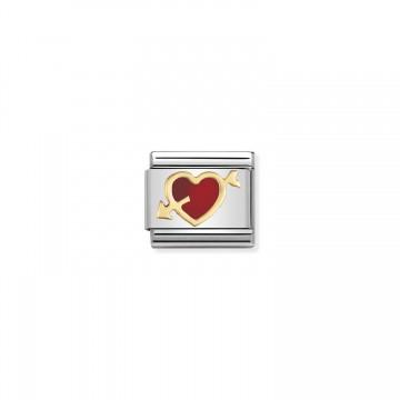 Rotes Herz mit Pfeil - Emaille