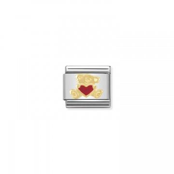 Bär mit Herz Gold - Emaille