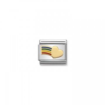 Regenbogen Herz Gold - Emaille
