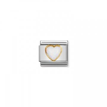 Herz mit weißem Opal - Gold