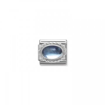 Oval in Silber und Topas