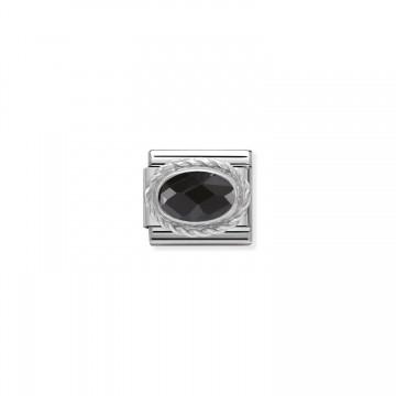 Oval Facetado Negro y Plata