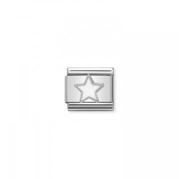Sternsilber und Emaille Weiß