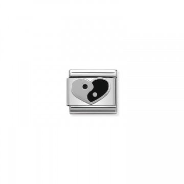 Corazón Yin Yang - Plata y...