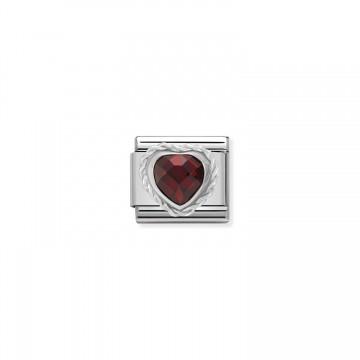 Coeur Rouge - Argent et Zircon