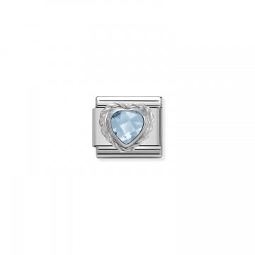 Light Blue Heart - Silver...