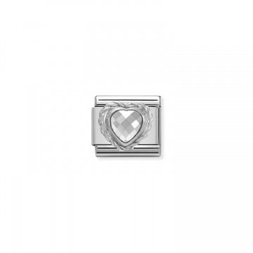 Weißes Herz - Silber und...