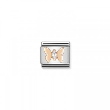 Papillon - Or Rose et Zircons