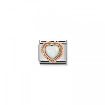 Heart with Opal - Rose Gold
