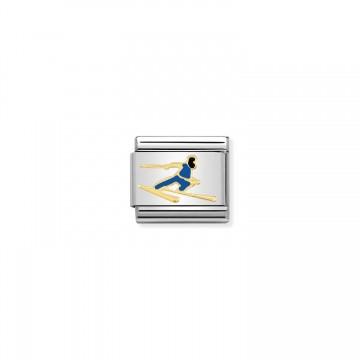Sciatore Blu  - Oro e Smalto
