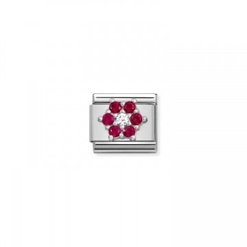 Flor Blanca y Roja - Plata...