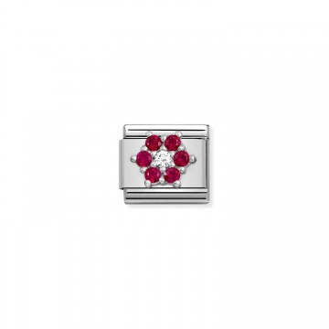 White and Red Flower -...