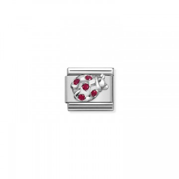 Ladybug - Silver and red CZ
