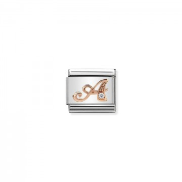 Letter A - Rose Gold With CZ