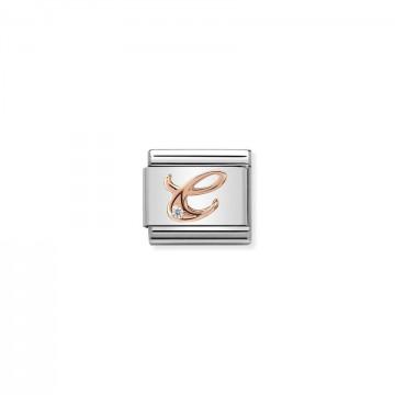 Lettera C - Oro Rosa Con CZ