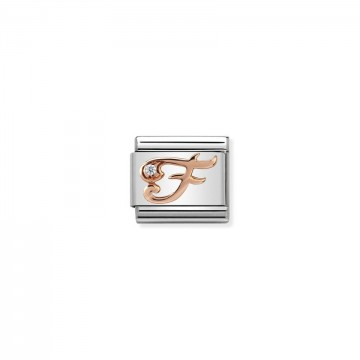 Letter F - Rose Gold With CZ