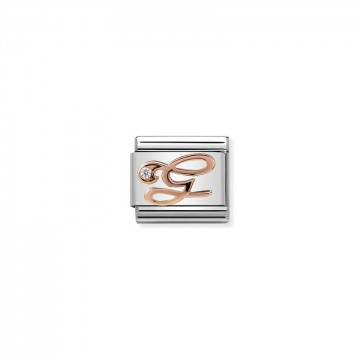 Letter G - Rose Gold With CZ