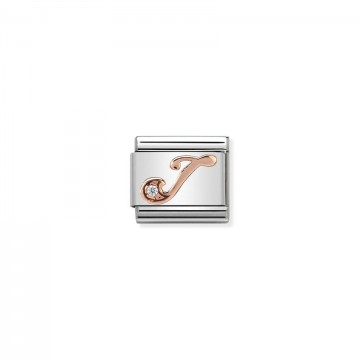 Letter J - Rose Gold With CZ