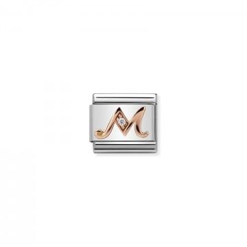 Letra M - Oro rosa con CZ