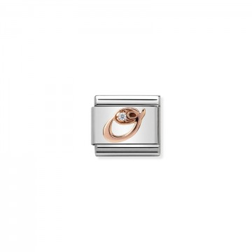 Letter O - Rose Gold With CZ