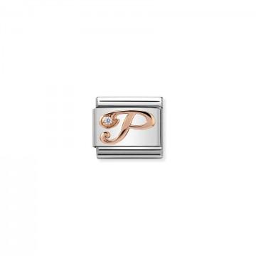 Letra P - Oro rosa con CZ