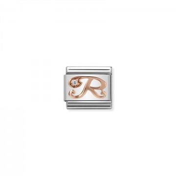 Lettera R - Oro Rosa Con CZ