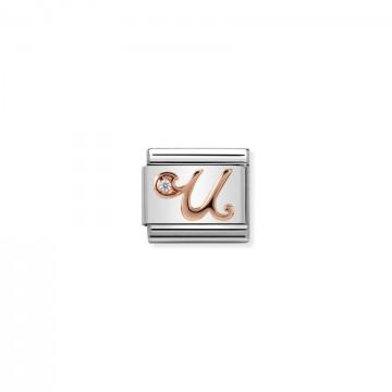 Letter U - Rose Gold With CZ