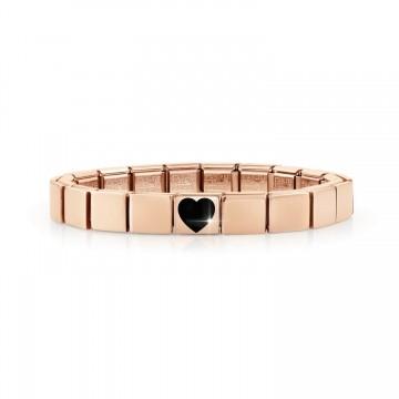 Pink Bracelet with Black Heart