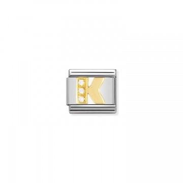Letra K - Oro Amarillo y CZ