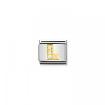 Letter L - Yellow Gold and CZ