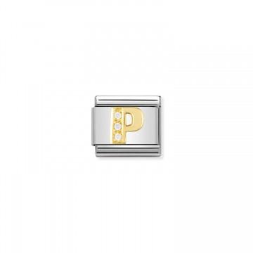 Letra P - Oro Amarillo y CZ