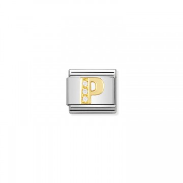 Letter P - Yellow Gold and CZ