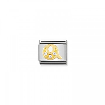 Letter Q - Yellow Gold and CZ