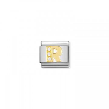 Letra R - Oro Amarillo y CZ