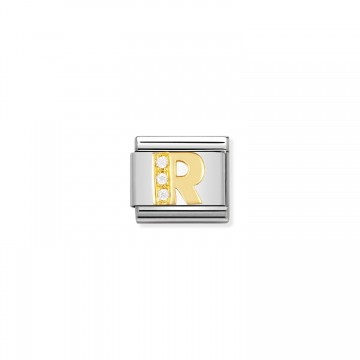 Letter R - Yellow Gold and CZ