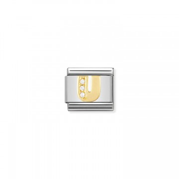 Letter U - Yellow Gold and CZ