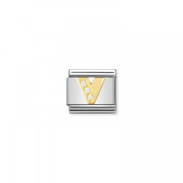 Letra V - Oro Amarillo y CZ