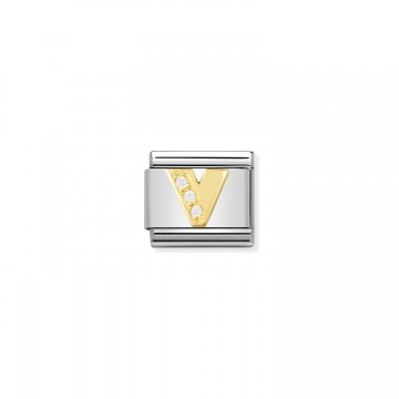 Letter V - Yellow Gold and CZ