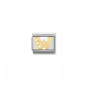 Letter W - Yellow Gold and CZ