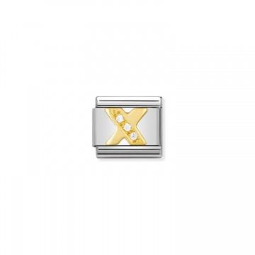 Letra X - Oro Amarillo y CZ